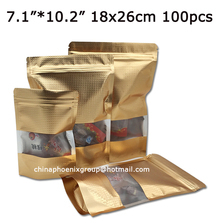 7.1″*10.2″_18x26cm Aluminum Foil Stand Up Pouch Doypack With Clear Window Food Storage Packing Bag Retail Packaging For Coffee