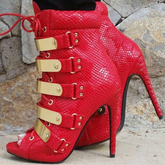 Sexy dames rouge chaud en cuir de peau de serpent peep toe bottines or bande embellie talon aiguille bottines à lacets pailletés talons