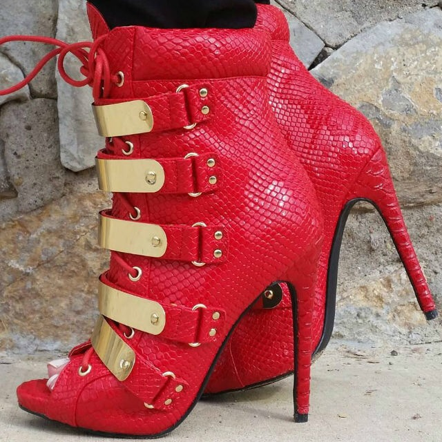 sexy ladies hot red snakeskin leather peep toe ankle boots gold band embellished stiletto heel booties lace up sequined heels цена