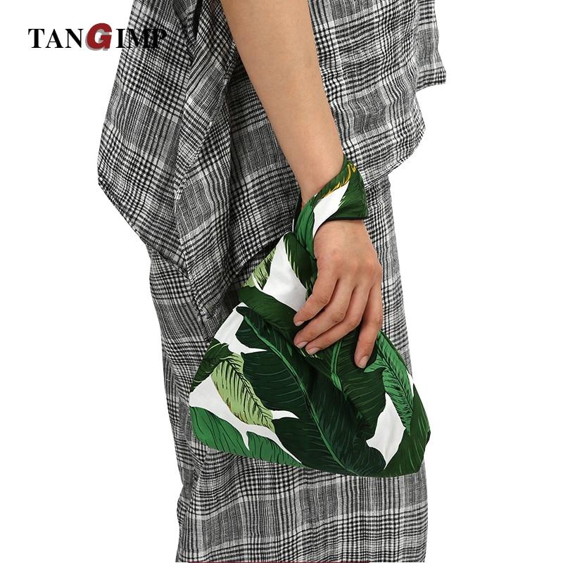 3b90980b2004 TANGIMP Poplin Wrist Bags Banana Leaves Printing Handbags Cotton Carry Bags  Wristlet Pack Tote Coin Purse
