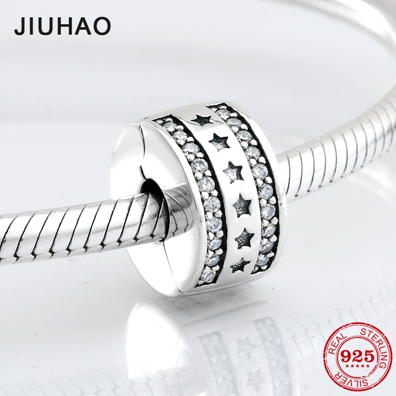 925 Sterling Silver Fixed Clip Sparking Star Stopper Lock Beads Fit Original Pandora Charms Bracelet Jewelry Making 2018