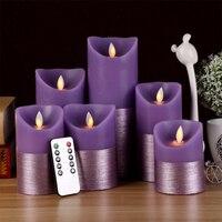 3PCS Set Creative Purple LED Electronic Flameless Candle Lights Remote Control Flame Flashing Candle Lamp Wedding