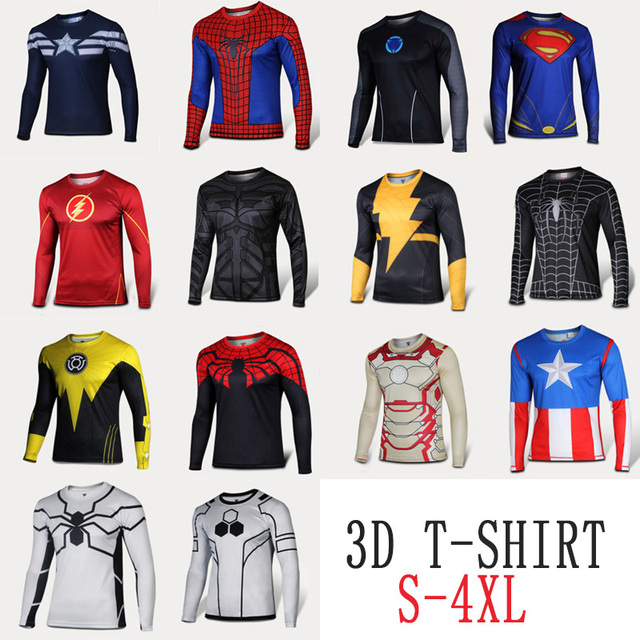 mens t shirts fashion 2015 superman 3d big size 4xl long sleeve men tops different styles for. Black Bedroom Furniture Sets. Home Design Ideas