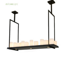 Mooielight American country creative Candlestick chandelier Restaurant Bar retro industrial wind antique rectangular chandelier(China)
