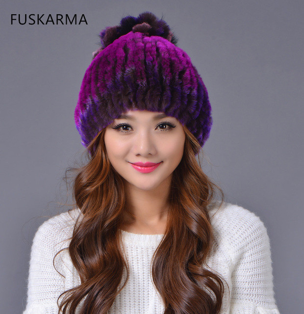 FUSKARMA  Brand Real Fur Hats women Beanies Rex fur hat lady knitted hat autumn and winter warm Casual Hats for women Hold Ears