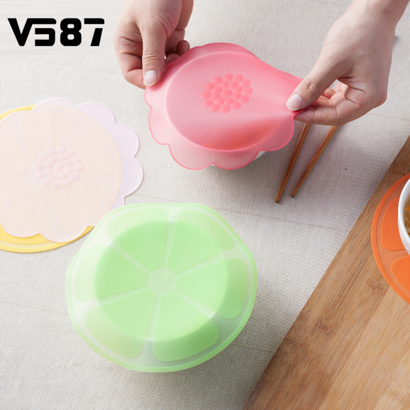 sweethome-sale 5Pcs/set Silicone Sealed Bowl Cover Refrigerator Microwave Oven Dust Heating Preservation Bowl Lid Rose Red Flower Round Shape