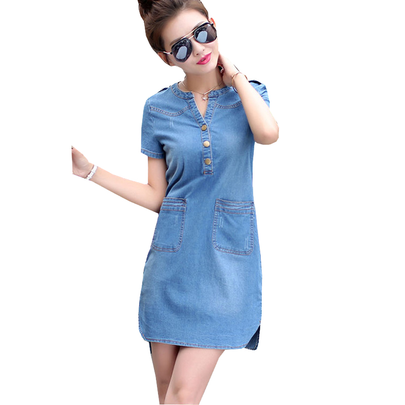 cf444adac53 Nice New Summer Style Plus Size A Line Denim Dress Women V-neck Short  Sleeve Slim Casual Office Denim Jeans Dress Vestidos Robe