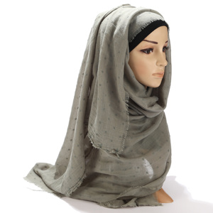 Image 4 - Women Cotton Voile Scarf Pleated Square Blocks Plain Shawl Muslim Tudung Muslim Hijab Scarves Head Scarf Wraps