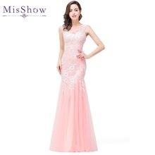Misshow вечернее платье сексуальное длинное розовое Тюлевое вечернее платье Элегантная Кружевная аппликация robe de soiree
