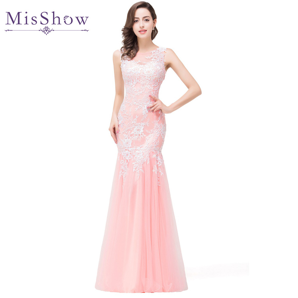 In stock 2019 Real Photos Mermaid Long Pink Tulle   Evening     Dresses   Elegant Robe De Soiree Longue See Through Back Party Prom Gown