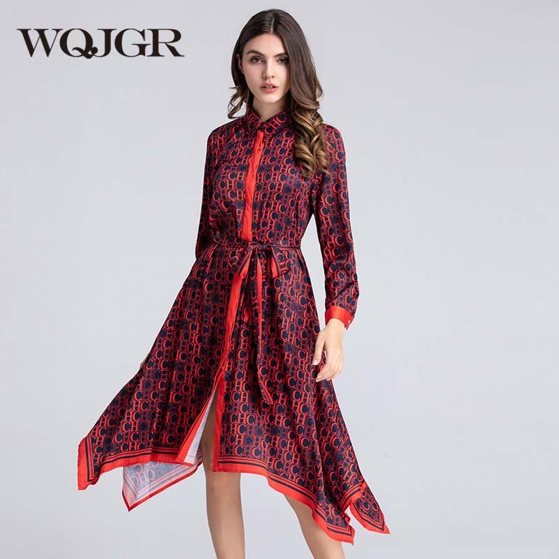 WQJGR Summer Dress 2019 Turn Down Collar Irregular Dresses Woman Party Night Empire Long Sleeve Elegant