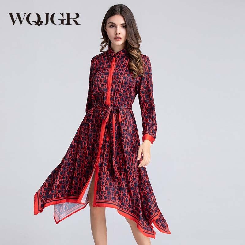 WQJGR robe d'été 2019 col rabattu robes irrégulières femme fête nuit Empire manches longues élégant Vestidos De Fiesta