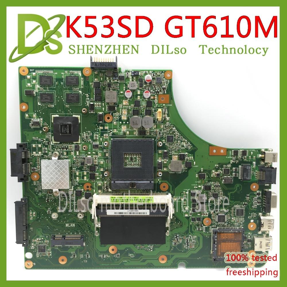 KEFU K53SD մայր տախտակ Asus K53SD K53E K53E K53S նոութբուքի մայր տախտակ REV 5.1 նոութբուքերի մայրական գրատախտակ GT610M-2G Թեստային աշխատանքներ 100%
