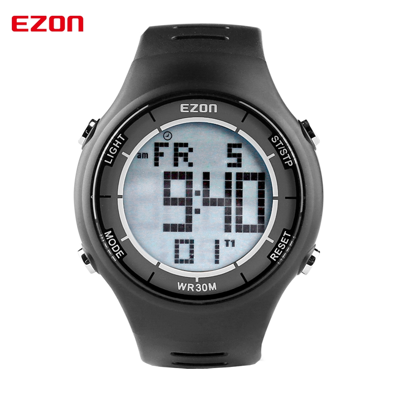 2017 Mens Fashion Casual LED Alarm Digital Watches 30M Waterproof Digital Dual Time Stopwatch Outdoor Sport Wristwatch EZON L008 wholesale free shipping china custom plastic cool light fashion big mens boy waterproof led alarm electronic digital watch