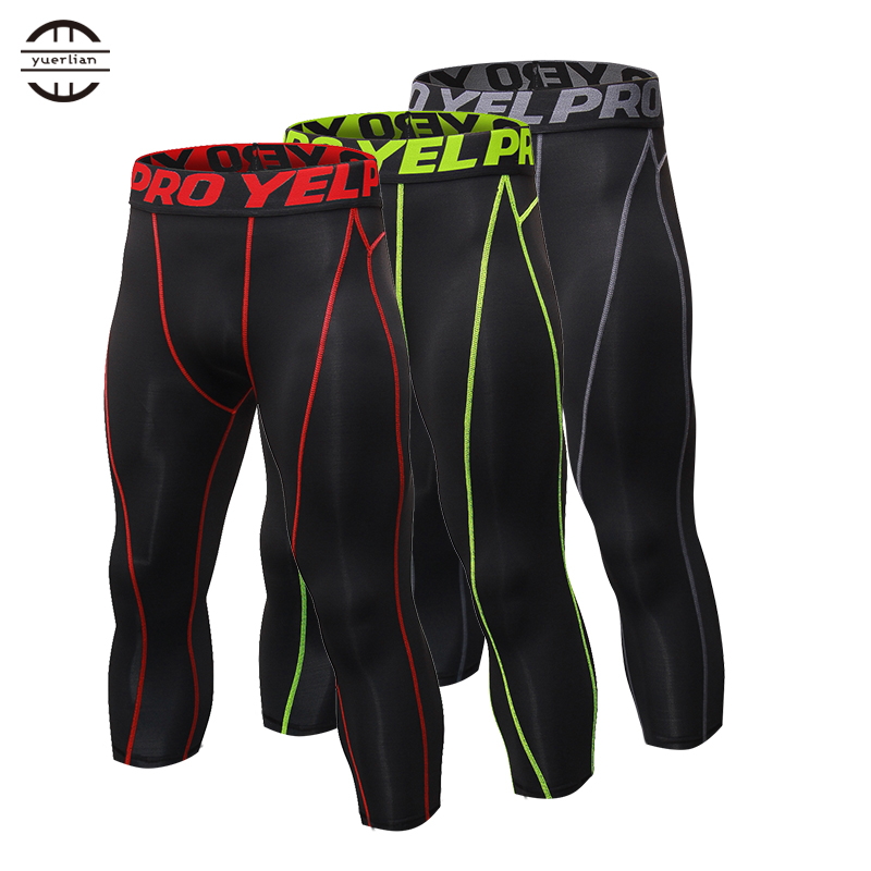New Mens Compression Tights 3/4 Pants Sports Tight Fitness Running Basketball Trouser Jogging Leggings Slim Fit Running Pants