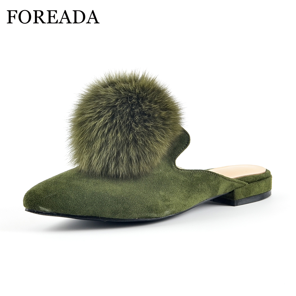 FOREADA Genuine Leather Mules Shoes Women Flats Real Rabbit Fur Shoes Slippers Pointed Toe Kid Suede Flat Slides Footwear Green flats slippers suede pink sandals mary jane genuine leather pointy summer slides designer shoes women luxury 2018 mules gray