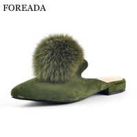 FOREADA Genuine Leather Mules Shoes Women Flats Real Rabbit Fur Shoes Slippers Pointed Toe Kid Suede