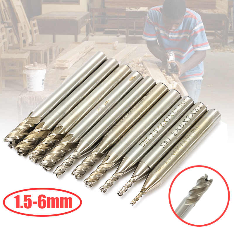 10pcs HSS End Mill Cutters Pilot Counterbore Mould Solid Drill Bit Slotting Tool Drill Tap Slotting Cutter with Box