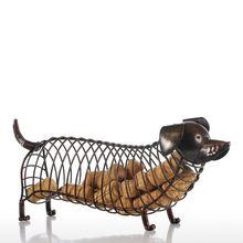 Tooarts Dachshund Wine Cork Container Iron Sculpture Craft Animal Ornament Gift 13.8 * 4.7 * 5.9inches Home Office Decoration