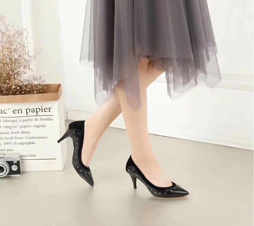 Bout Pointu Chaudes Ventes À Chaussures Ol Femmes Talons Cuir Rivets En Pompes Et Femelles Véritable Hauts Printemps Automne TzwwUq8