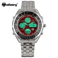 INFANTRY Luxury Sport Aviator Men S LCD Digital Quartz Wrist Watch Fashion Red Stainless Steel Stopwatch
