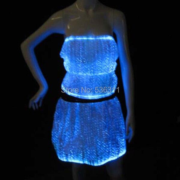 Модные оптического волокна свет системы Световой Производительность Танцевальный костюм комплект RGB флэш топ + мини юбка световой комплект