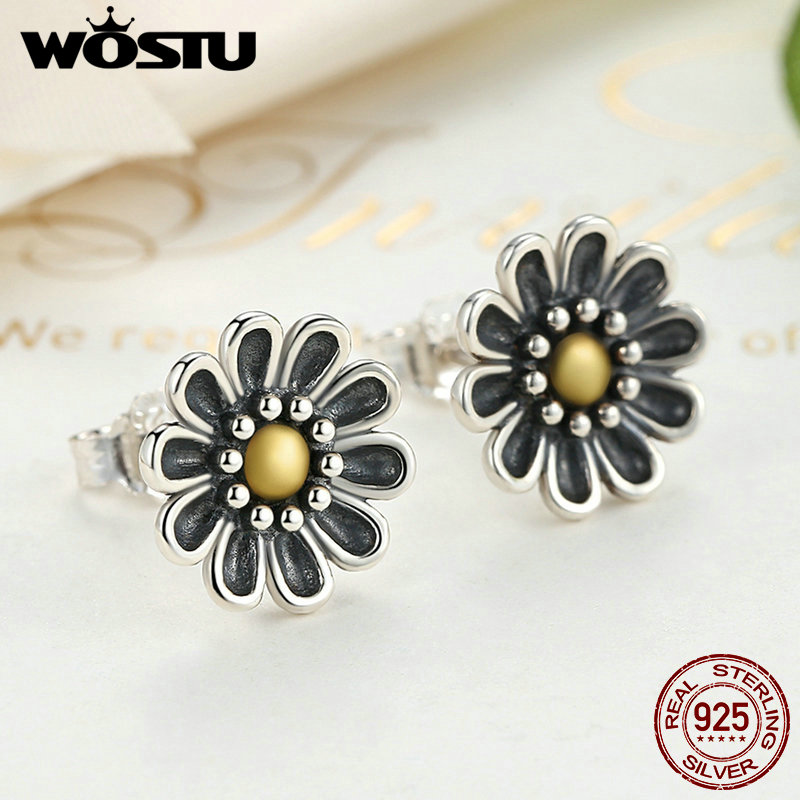 100% Authentic 925 Sterling Silver Chrysanthemum Flower Stud Earrings For Women Compatible with Jewelry Original Gift XCHS455 1