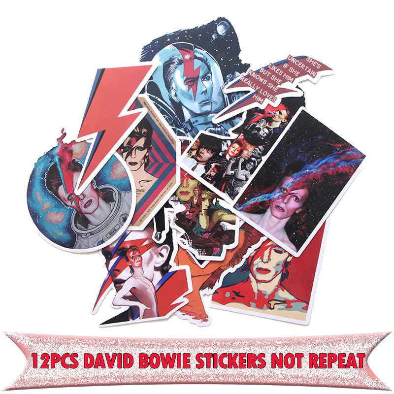 12pcs di David bowie divertente vintage FAI DA TE scrapbooking album Del Computer Portatile Da Viaggio Moto notebook decal Adesivo Impermeabile E0046