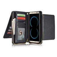 スーパー多機能ラグジュアリーレトロクレイジーホース柄puレザー財布カード袋ケースカバー三星銀河s8プラスサムスンs8