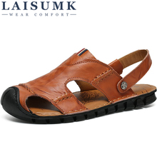 LAISUMK Breathable Summer Men Genuine Leather Slides Sandals Luxury Brand Classical Male Italian Formalbeach Designer