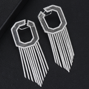 Image 4 - GODKI 58MM Luxury Long Tassels African Dangle Earrings For Women Wedding Cubic Zircon Crystal CZ Dubai Indian Bridal Earrings