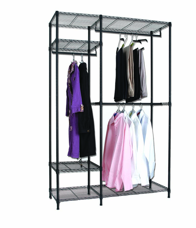 Power Coating Metal Wardrobe 5 Layers Storage Rack 48x18x72