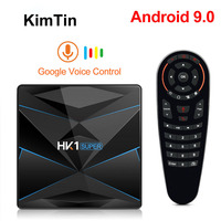 Samrt TV BOX 4K Android 9 TV BOX HK1 Super RK3318 Quad Core ARM Google Player DDR4 4G 128G 2.4G/5G Wifi Set Top Box TV Receiver