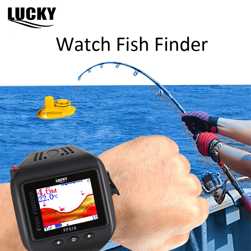 цена на LUCKY FF518 Watch Type Sonar Fish Finder Wireless Wrist Fishfinder 200 Feet(60M) Range Portable Echo Sounder for Fishing
