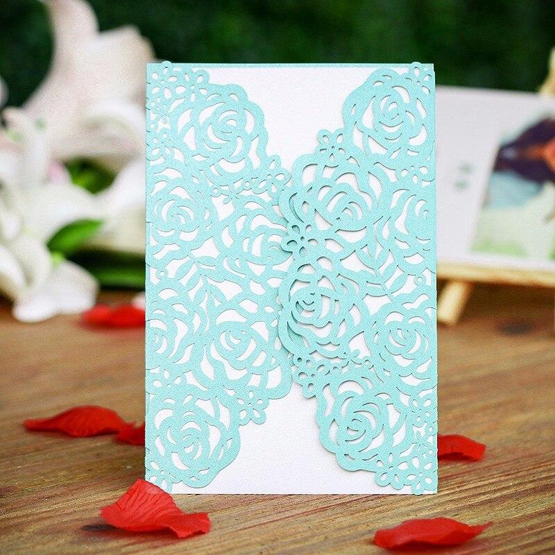120PCS Lot Tiffany Blue Laser Cut Rose Wedding Invitation