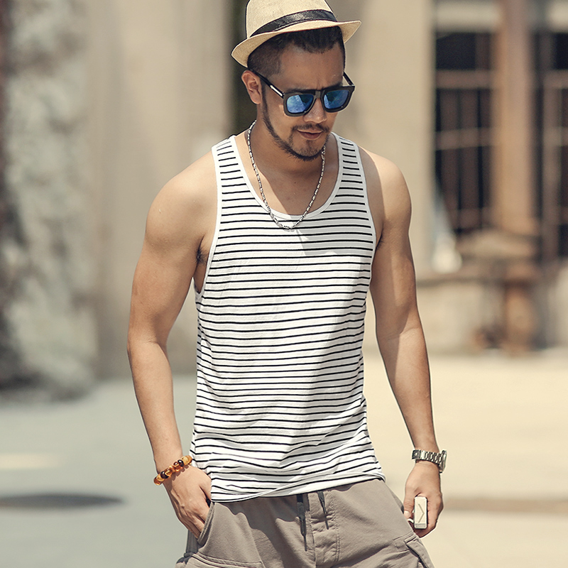 Men Summer Slim Casual Fashion Cotton Striped   Tank     Tops   Men Bodybuilding New Sleeveless Singlets Brand Undershirt Vest T855