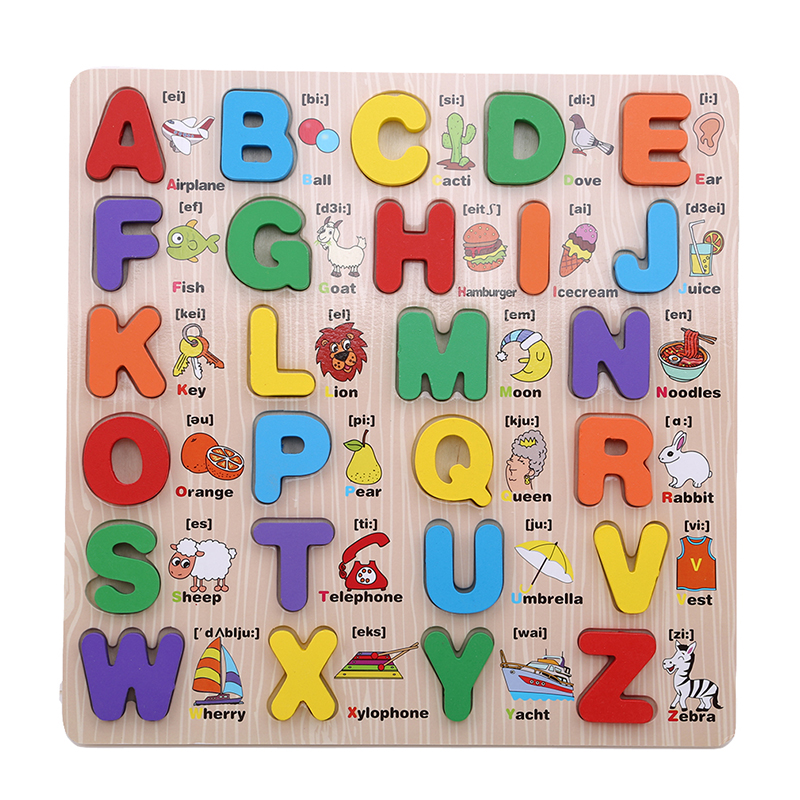Montessori Materials Capital Lowercase Alphabet Puzzle Board Language Learning Board Montessori Educational Wooden Toys