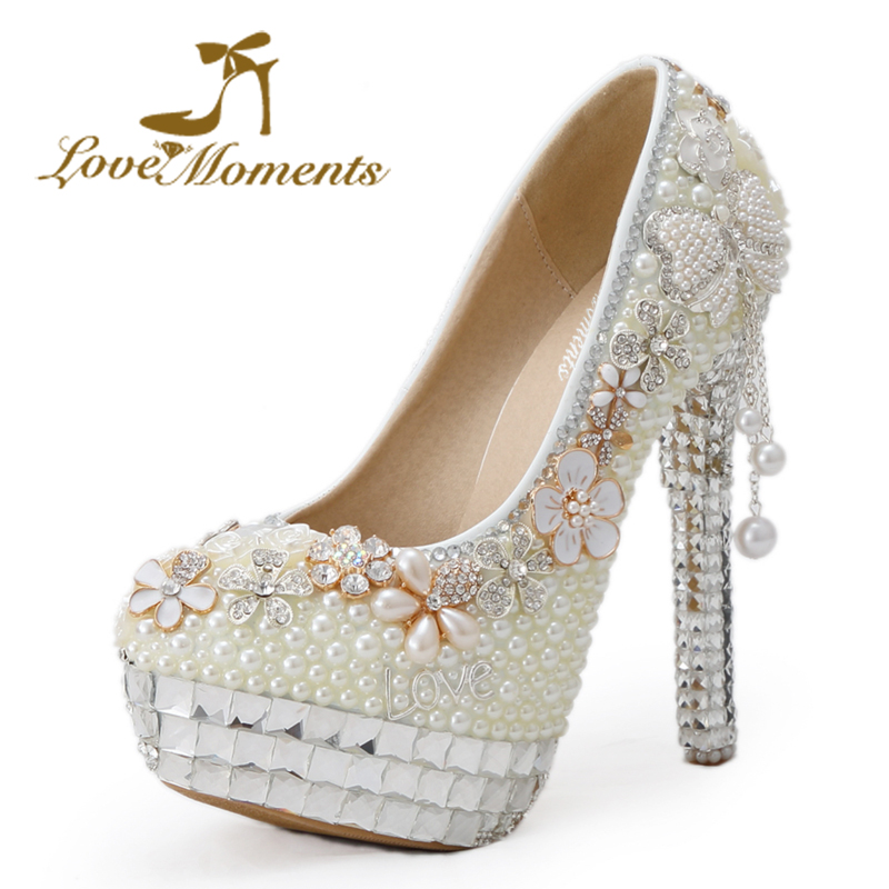 Love Moments Handmade rhinestone ivory pearl high heel wedding shoes banquet dress party shoes crystal bridal shoes large size 20 colors wedopus custom handmade large size bow bridal shoes ivory low heel peep toe