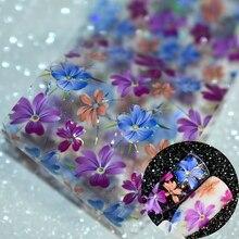 เล็บดอกไม้รูปลอกฟอยล์ภาพ Transfer Spirit ดอกไม้ป่าสติกเกอร์ฟอยล์ DIY ตกแต่งตกแต่งเล็บม้วนล้าง Jar 1 M