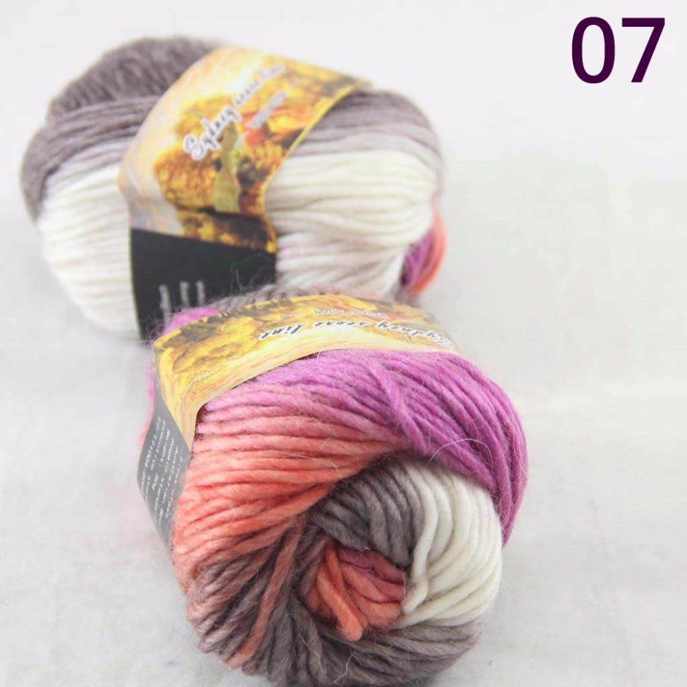 SALE NEW Chunky Colorful Hand Knitting Scores Wool Yarn Bisque Orange Purple