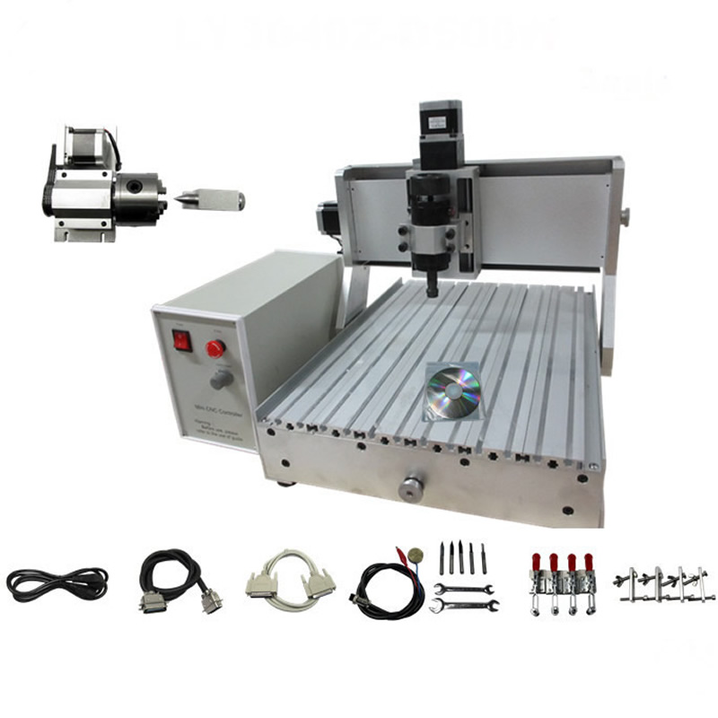 CNC Router 3040 Z-VFD 4 AXIS 110/220V 500W CNC Engraver Cutting Millinging Machine with Ball Screw cnc router wood milling machine cnc 3040z vfd800w 3axis usb for wood working with ball screw
