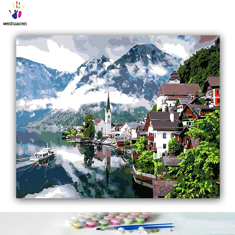 DIY Coloring paint by numbers Lakeside villa scenery pictures Abstract figure paintings by numbers with kits 40x50 framed