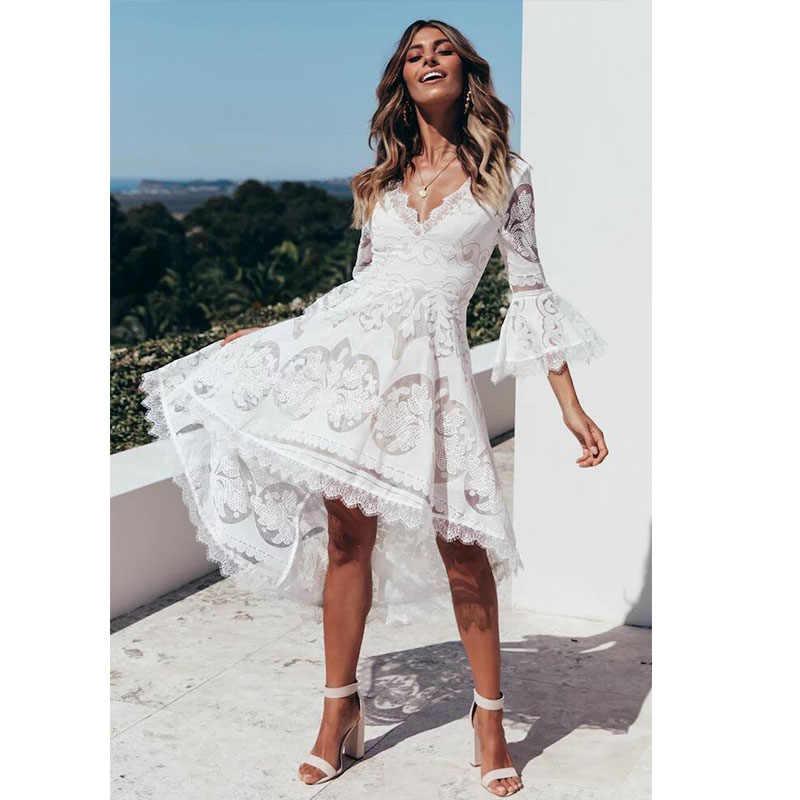 3f30c1a708 White Lace Dresses For Women 2019 Formal Dress For Plus Size Women Long  Dress Elegant Boho