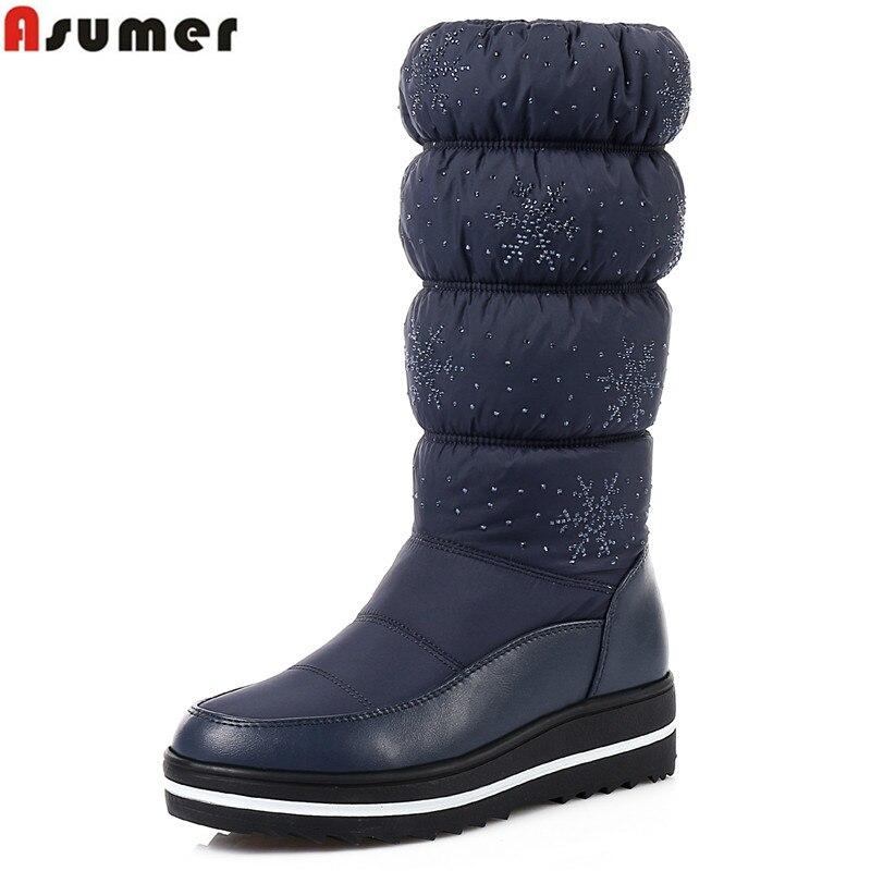 ASUMER 2018 Nouveaux bottes de neige pour les femmes chaussures strass de haute qualité bottes d'hiver solide étanche Non-slip bas coton chaussures