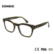 ESNBIE Italy Acetate Women Glasses Frame Optical Men Square Black For Sight Retro Nerd Rivet oculos