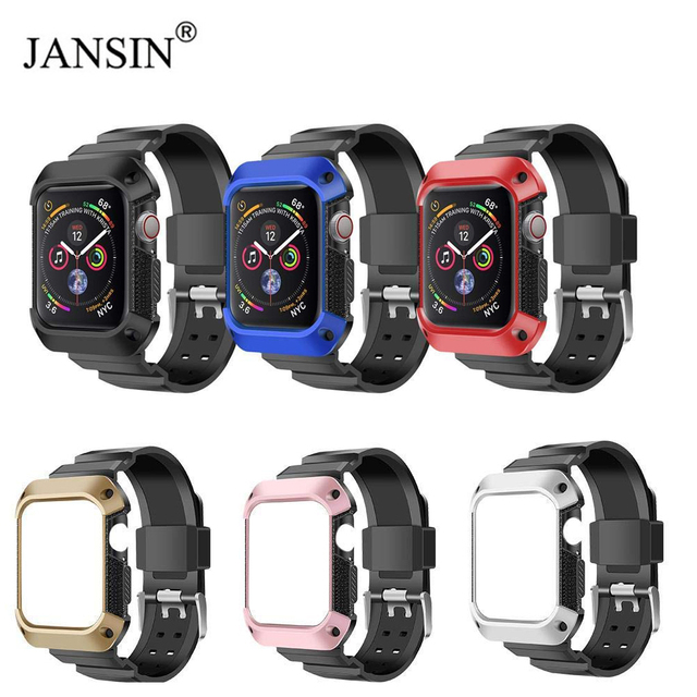 online store b7f63 9b972 US $8.5 50% OFF|JANSIN For Apple Watch Band 44mm 40mm Rugged Protective  Case Cover With Sport Strap Bands For iWatch Series 4 44mm Wristband-in ...