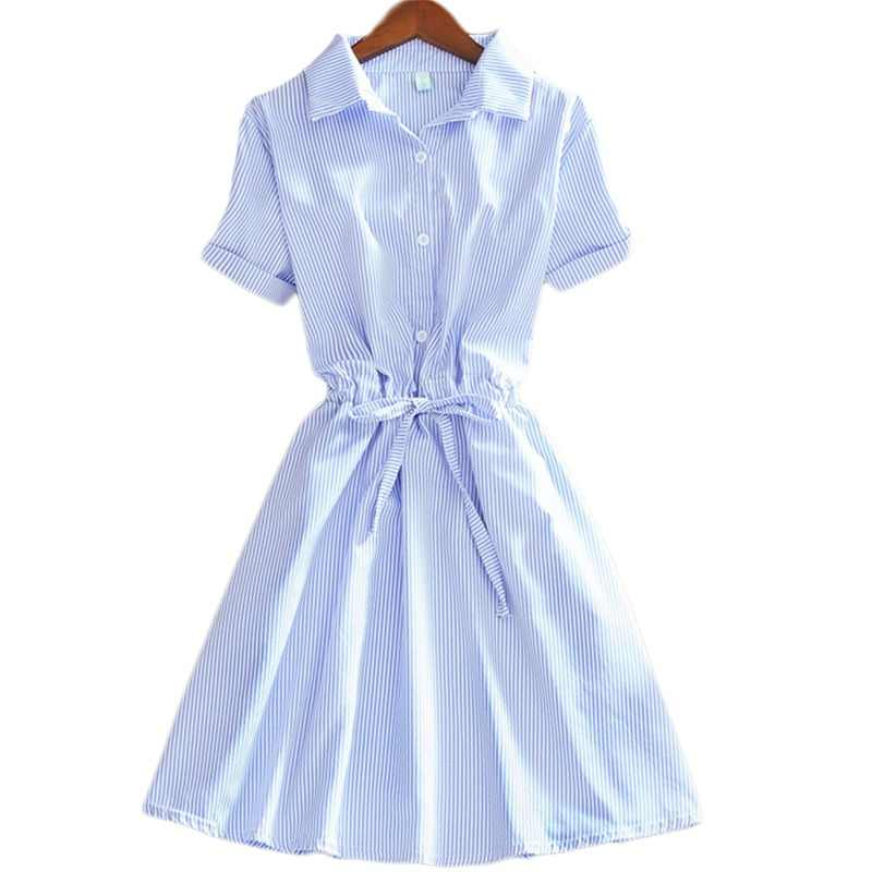 2019 Elegant Office Summer Dress Shirt Elegant Blue Stripped Cotton Turn Down Collar Wear to Work Shirts Women Dresses #BD728