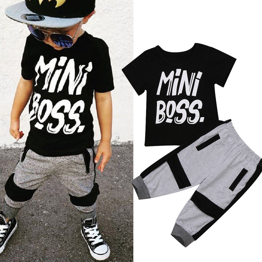 Mini Boss Black Cool Hot Outfits For Toddler Kids Baby Boy Letter Short Sleeve T-shirt Tops Pants 2Pcs Set Clothes