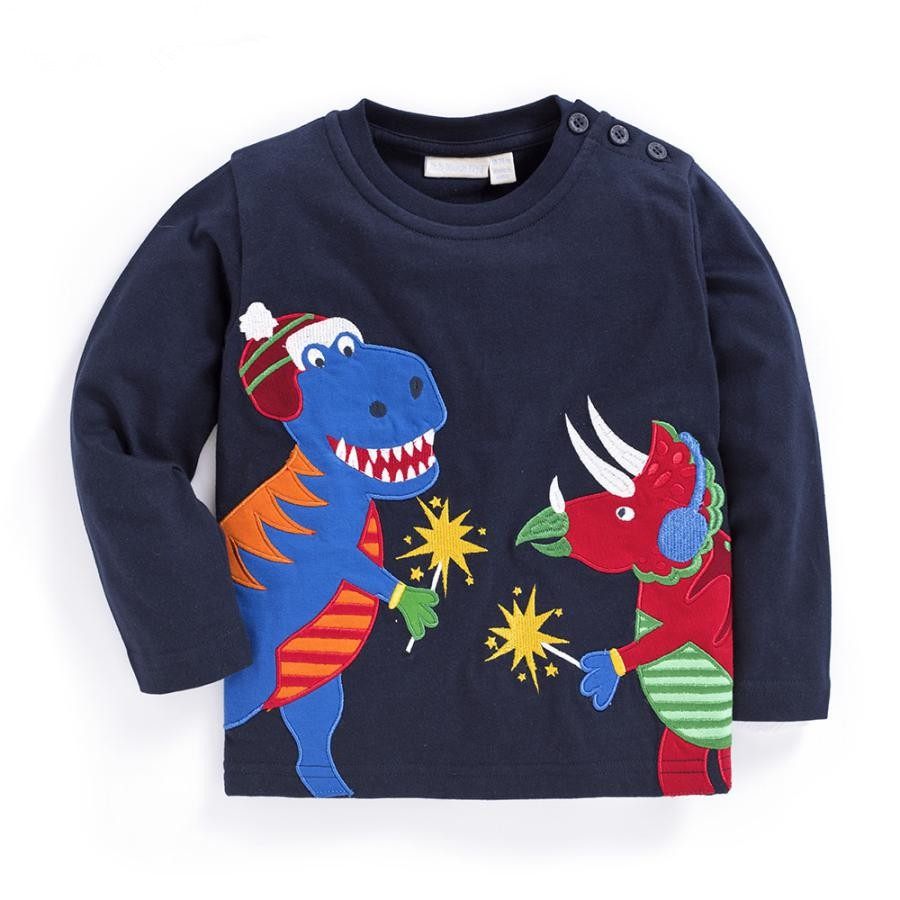 New 2017 100% Cotton Baby Boys t shirts Kids Clothing Children Long Sleeve unisex t-shirts for Boys Blouse dinosaur Boys