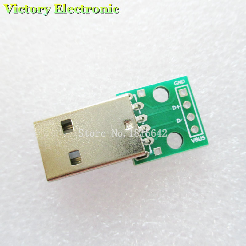 5PCS/Lot USB To DIP Adapter Converter 4 Pin For 2.54mm PCB Board Power Supply DIY Wholesale